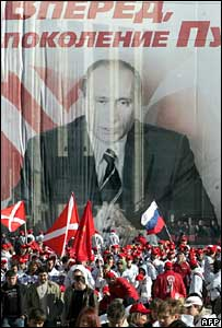 Nashi members in front of a huge poster of President Putin in Moscow in March 2007