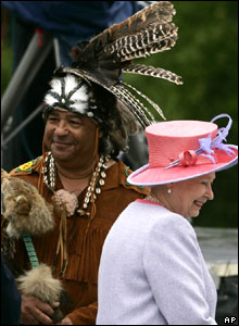 Queen Elizabeth II beside a native American Indian