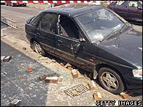 Car damaged by the quake