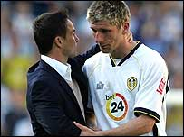 Leeds boss Dennis Wise consoles striker Richard Cresswell after last week's draw with Ipswich