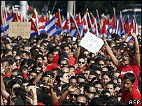 Thousands attend the Revolution Square May Day parade in Havana