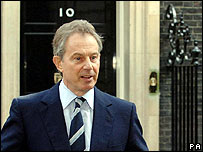Prime Minister Tony Blair standing outside Downing Street