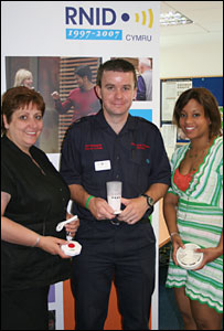 Katrina Orr, Vaughan Jenkins and Jessica Lewis with the specialised alarms