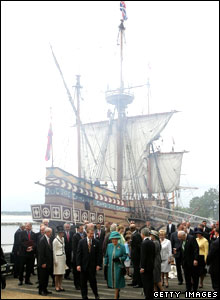 The Queen with the replica ship, the Susan Constant