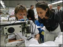 Segolene Royal meets textile workers, 4 May