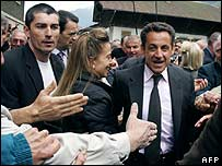 Nicolas Sarkozy on the campaign trail on 4 May