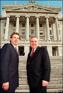 Tony Blair and Bertie Ahern on Stormont steps in 1999