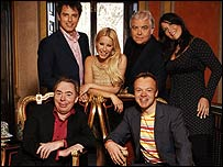 Andrew Lloyd Webber (bottom left) with Any Dream Will Do judges and host