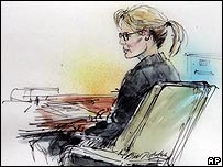An artist's sketch of Kim Basinger in court