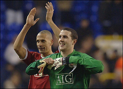 Rio Ferdinand and John O'Shea - who ended the Tottenham game in goal