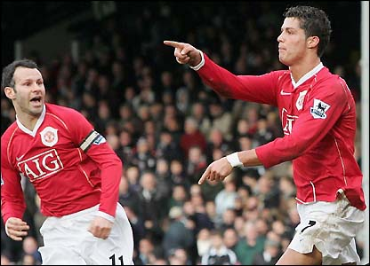 Cristiano Ronaldo after scoring at Fulham