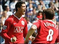 Cristiano Ronaldo celebrates putting Man Utd ahead at Man City