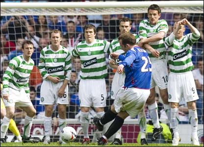 Rangers v Celtic: Charlie Adam shoots home a free kick to make it 2-0 at Ibrox