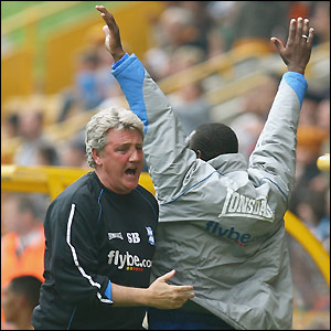 Steve Bruce celebrates