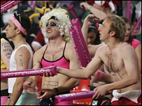 The fans get into the spirit of the occasion inside the Millennium Stadium