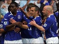 Joseph Yobo is mobbed after heading Everton's second goal