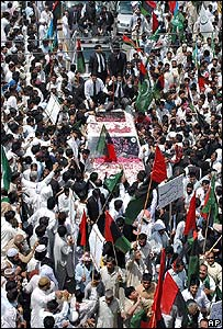 The vehicle of Iftikhar Chaudhry surrounded by supporters in Lahore