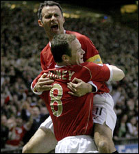 Ryan Giggs and Wayne Rooney celebrate another Manchester United home goal