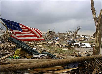 Debris is strewn in Greensburg, Kansas, after a tornado struck late on Friday