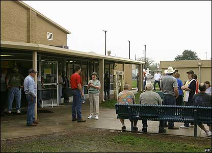 People gather at a Red Cross makeshift shelter in Haviland, Kansas