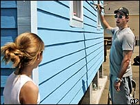 Harry Connick Jr with daughter Georgia painting a house in New Orleans