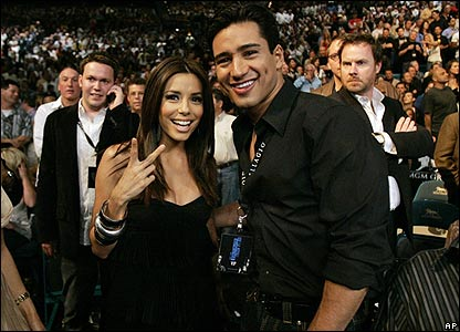 Actress Eva Longoria with actor Mario Lopez.