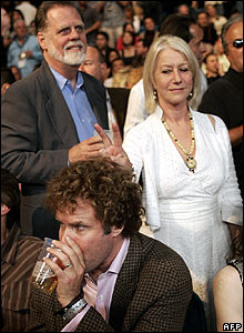 Dame Helen Mirren with her husband Taylor Hackford (left) and actor Will Ferrell.