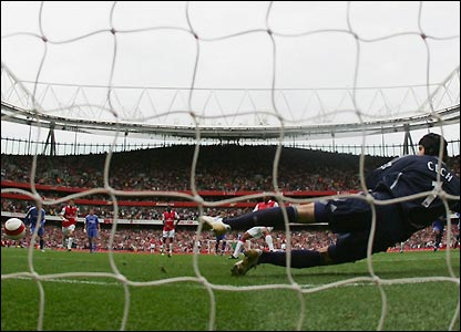 Petr Cech goes the wrong way as Arsenal take the lead