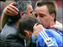 Chelsea boss Jose Mourinho and players Frank Lampard and John Terry