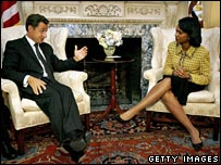 Mr Sarkozy meets US Secretary of State Condoleezza Rice in September 2006