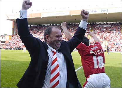 Bristol City manager Gary Johnson celebrates promotion