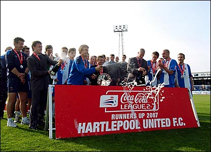 Hartlepool players celebrate promotion
