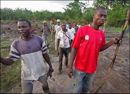Villagers near the crash site