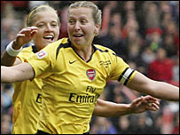 Jayne Ludlow (right) celebrates the second of her two goals for Arsenal with team-mate Katie Chapman
