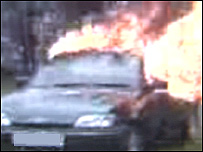 Online footage of burning car