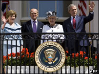 The Queen, President Bush, Prince Philip and Laura Bush outside the White House