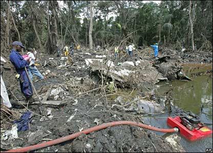 Rescuers at the crash scene
