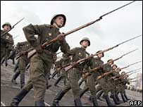 Russian troops - dressed in WWII uniforms - rehearse for the 9 May parade in Moscow