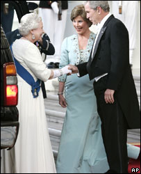 The Queen is greeted by President George W Bush and first lady Laura Bush