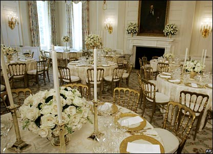 Place settings for the State dinner for the Queen