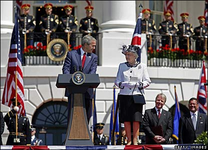 President Bush and the Queen outside the White House