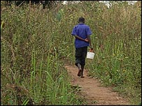 Woman walking along village path, northern Uganda