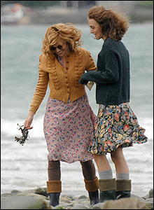 Sienna Miller and Keira Knightley on the beach at New Quay, Ceredigion