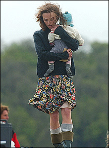 Part of the first day of filming also included scenes of Knightley walking along the beach cuddling a baby.