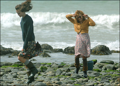 The actresses were shooting scenes on the beach at New Quay in Ceredigion over the Bank Holiday.