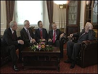 Martin McGuinness, Bertie Ahern, Tony Blair, Peter Hain and Ian Paisley