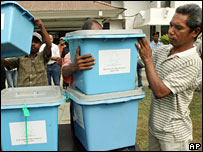 Election workers prepare ballot boxes in Dili, East Timor, Tuesday, May 8, 2007