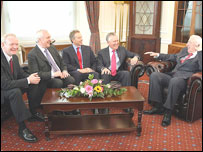 Left to right: Martin McGuinness, Bertie Ahern, Tony Blair, Peter Hain, Ian Paisley