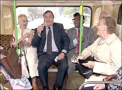 John Prescott on bus