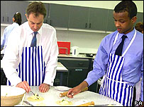 Blair in cookery lesson
